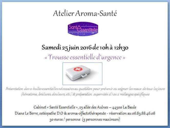 Atelier aroma-santé - trousse essentielle d'urgence - 25 juin 2016 - contour