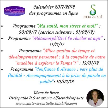 Calendrier 2017-2018 programmes Santé Essentielle et Eau de Soi - contour